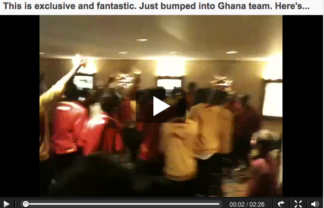 The Ghana team drumming, singing and dancing yesterday at team hotel